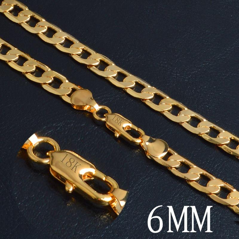 Alta qualidade 18 k selo amarelo ouro sólido gf borda plana curb chain feminino masculino charme sólido 20 polegada colar 6mm