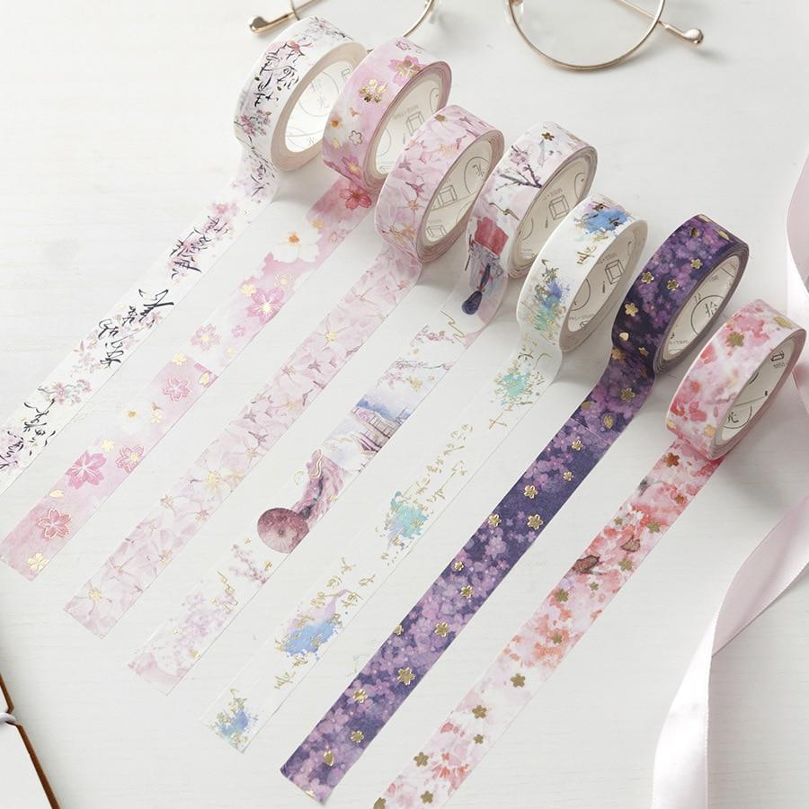 Sakura Dreamland Gold Foil Glitter Washi Tape Adhesive Tapes Paper Masking Tapes Decoration Diy Adhesive Paper