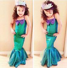 Princess Fancy Kids Girls dress Little Mermaid Dresses Party Cosplay Costume 3-12Years Children Clothing
