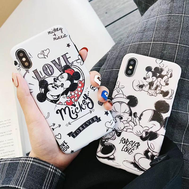 Dessin animé Mickey Minnie Pour iPhone11 11p max 7 7plus 6 6s 8 plus X XS MAX XR cas Silicone Souple capa coque Fundas