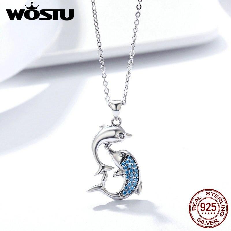Wostu romântico 100% 925 prata esterlina amor golfinhos pingente colar para mulher jóias de prata presente do dia das mães fin168