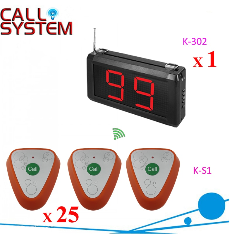 1 diapaly receiver work with 25 table bell Guest wireless call system