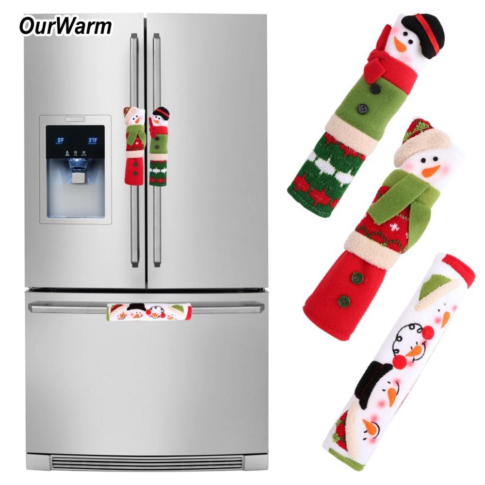 OurWarm большие 3 шт рождественские крышки для дверных ручек холодильника Ручка дверцы холодильника рождественские украшения для дома