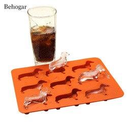 Behogar 9 slots bonito cão em forma de moldes de silicone ice cube maker molde bandeja caixa moldes para uísque cocktails diy chocolate decoração do bolo
