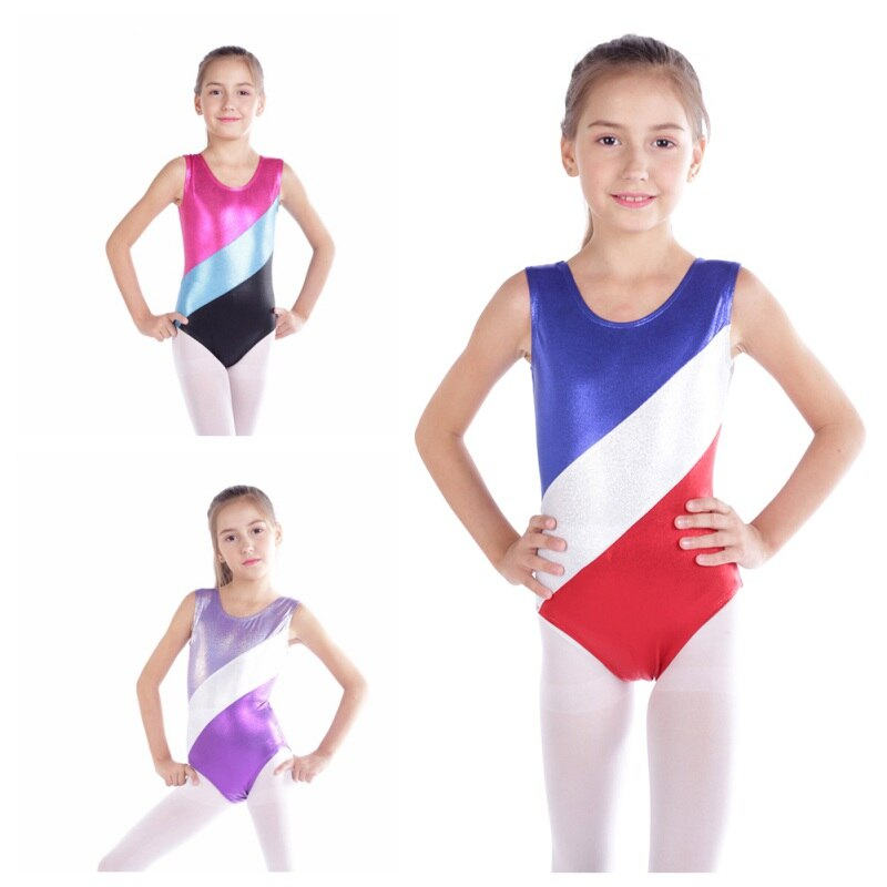 Gimnasia Niñas Ropa de alta calidad sin mangas radio color Bodi a juego niños ballet gimnasia danza práctica de tela