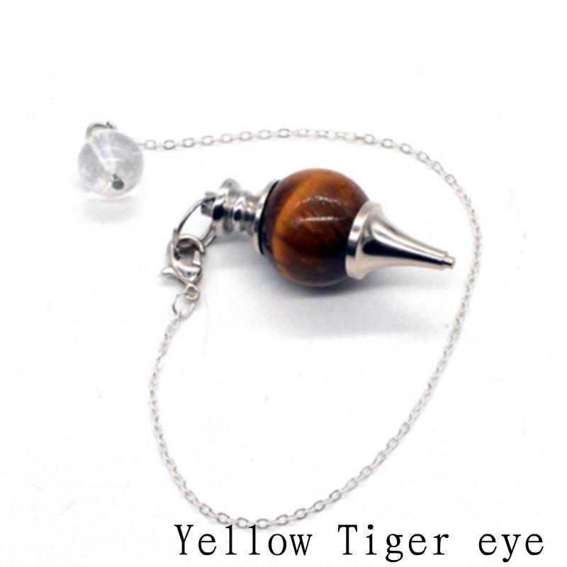 Reiki Ojo de Tigre péndulo colgante de piedra Natural para Dowsing rosa cuarzo ópalo negro ónix joyería de moda para hombres envío gratis