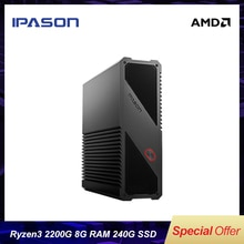 Gaming Mini PC Computer AMD Ryzen3 2200G 8G 240G SSD Vega Dual-band WiFi (all aluminum body) desktop PC