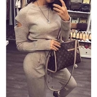 womens limited real suit sweater set round collar pants casual fashion two piece 2020 spring high quality cashmere pullover