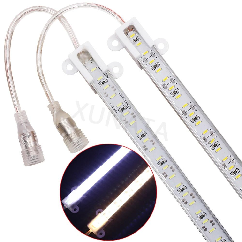 10W 12V barra de luz Led SMD 4014 0,5 m 72Leds 1M 144Leds IP65 tira de Led impermeable duro Rgb Led + DC conector decoraciones para el hogar