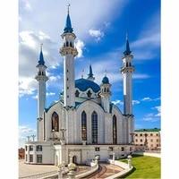 5d diy diamond church embroidery diamond painting cross stitch islam muslim holy mosque full square mosaic rhinestone round
