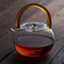 Service à thé en verre pomme 780ml   Créatif résistant à la chaleur en forme de verre, fleur bouilloire, théière à café