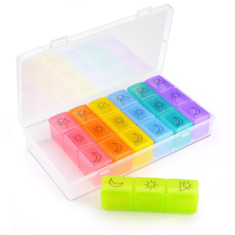 1 Uds Portable 21 rejillas pastillero cuadrados semanal 7 días tableta pastillero titular medicina contenedor organizador de almacenamiento caso nuevo