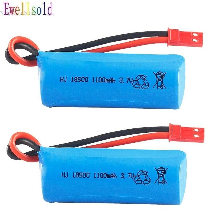Ewellsold 2pc 3,7 V 1100mAh li-polímero batería 18500 15c para ft008 rc barco H227-33 helicóptero rc