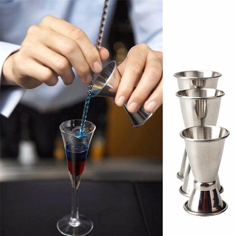 1Pcs 25/50ml de Aço Inoxidável Duplo Único Tiro Medida Partido Bar Jigger Vinho Espírito Bar Cocktail medir Copo Shaker