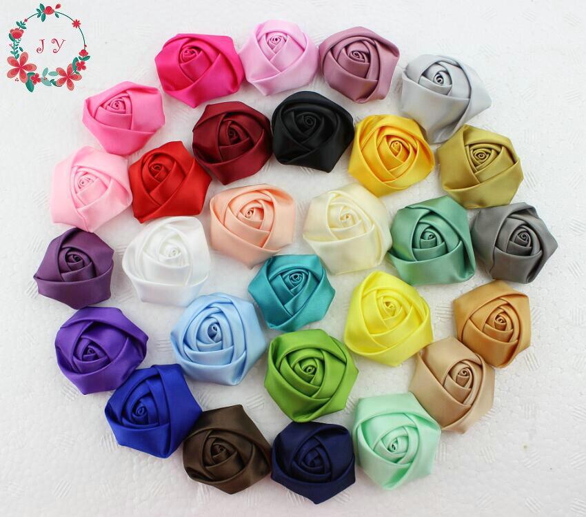 100 pçs/lote 45-50 milímetros satin laminados rosette flor rosa artesanal para enfeites de cabelo, vestuário DIY acessório (rosa, lavanda, vermelho, café)