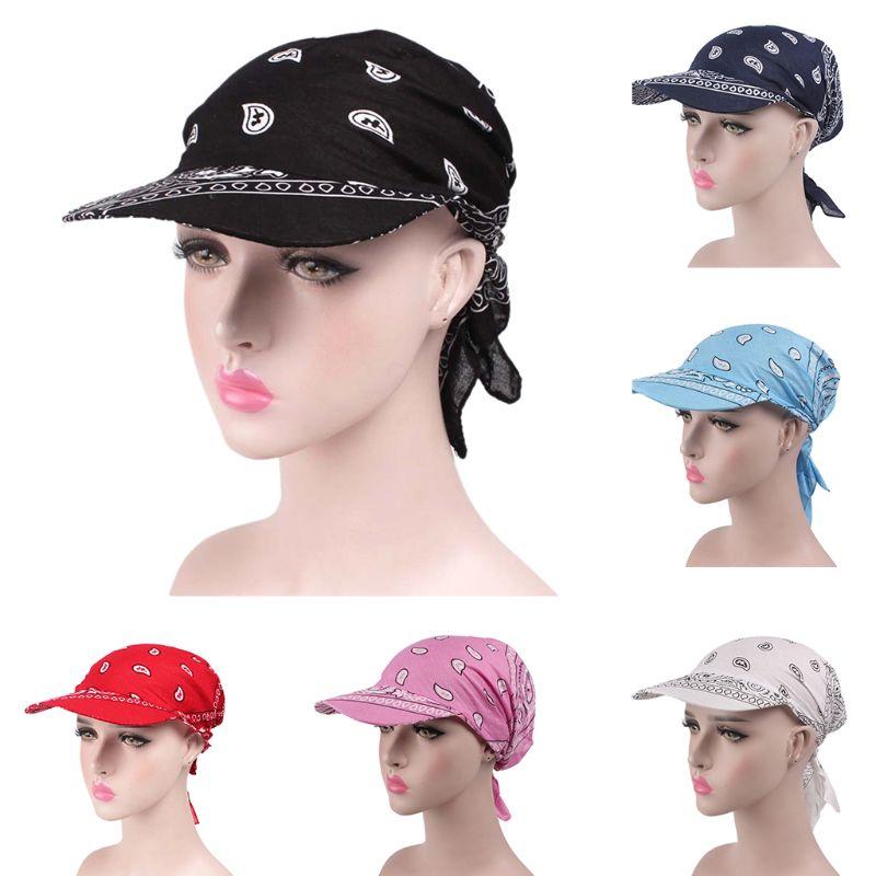 Unisex preajustado Bandana turbante sombrero Boho Paisley Floral lazo espalda algodón gorra de béisbol ajustable sombrero visera