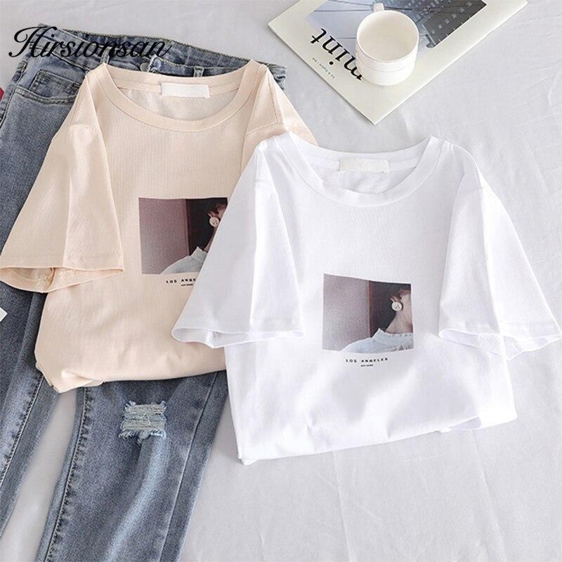 Hirsionsan Kawaii camiseta para mujer impresa nuevo verano mujeres harajuku Color claro Tees o-cuello suelta Tee Tops Camiseta de manga corta