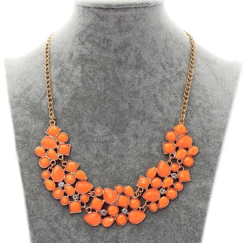 Pingentes exagerados colares mulher geométrica mosaico cristal corrente de ouro neon laranja gargantilha collier femme foulard