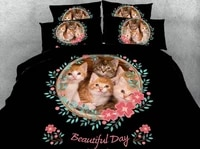 cat bed set 3d bedding set luxury bed sheet cotton brand duvet cover bed in a bag linen super king queen size twin full 4pcs