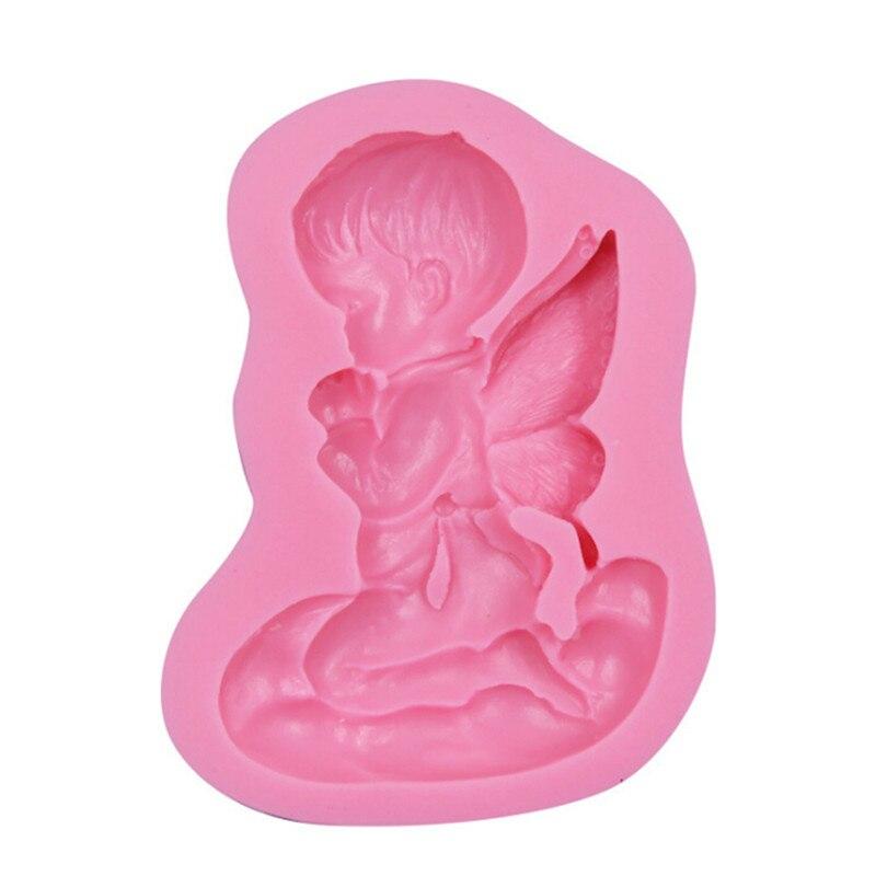 Molde de silicone em forma de anjo, ferramenta de cozimento, 3d, para fondant, bolo, cupcake, produto comestível
