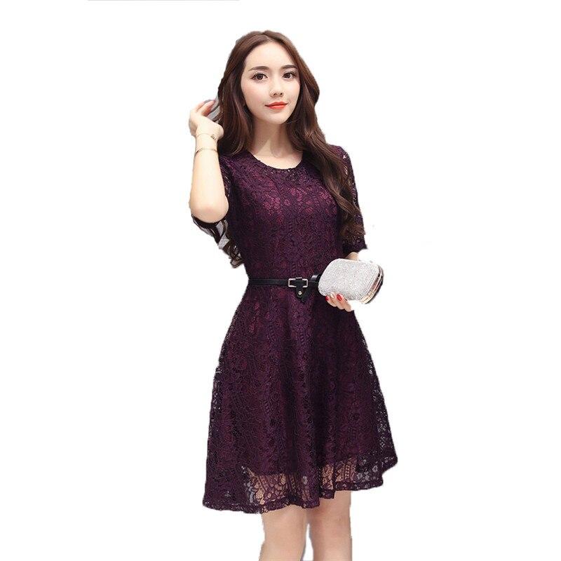 Summer S-4XL Plus size lace dress women 2019 new Korean version of gray black pink round neck fashion A word dress vestido JD240