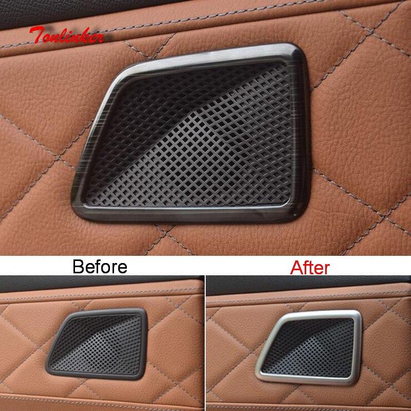 Tonlinker 2 قطعة الباب الخلفي المتحدث غطاء ملصق لسيتروين DEESSE DS7 2018-19 سيارة التصميم الفولاذ الصلب غطاء حالة ملصقات