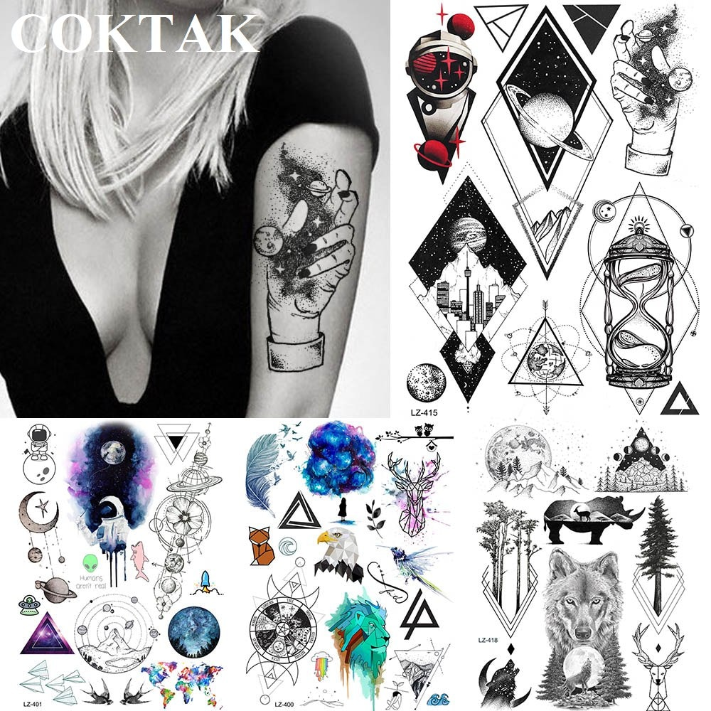 Diamante cielo Jumbo manos galaxia tatuajes temporales calcomanías mujeres brazo geometría impermeable tatuaje triángulo hombres cuerpo cuello arte Tato