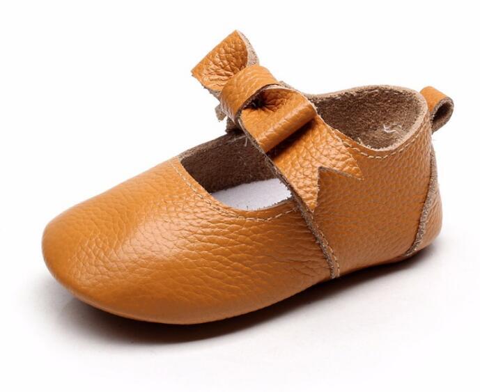 Moda arco mary jane sapatos da menina do bebê de couro genuíno recém-nascido feitos à mão primeiros caminhantes mocassins sola macia sapatos princesa