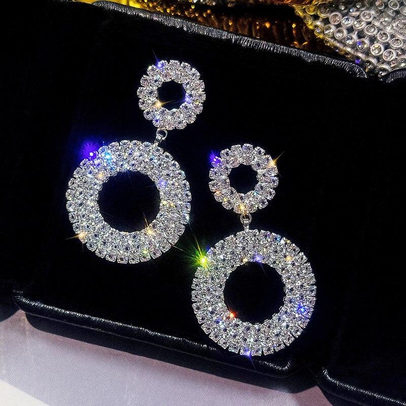 FYUAN New Crystal Drop Earrings Luxury Shining Gold Silver Color Round Rhinestone Dangle Earring for Women Wedding Party Jewelry
