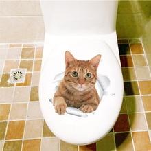 Autocollants chat jolis pour décorations toilettes   Autocollants dart Mural, Animal vif, décoration de maison, affiches murales 3d, en bricolage