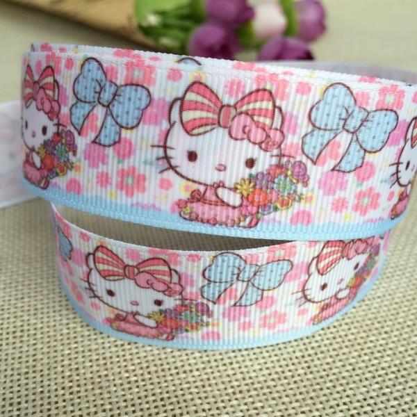 "1 ""25MM Kawaii Cartoon Pikachu Ribbon For Diy Hairbow headwear printed grosgrain ribbon gift decoration ribbons"