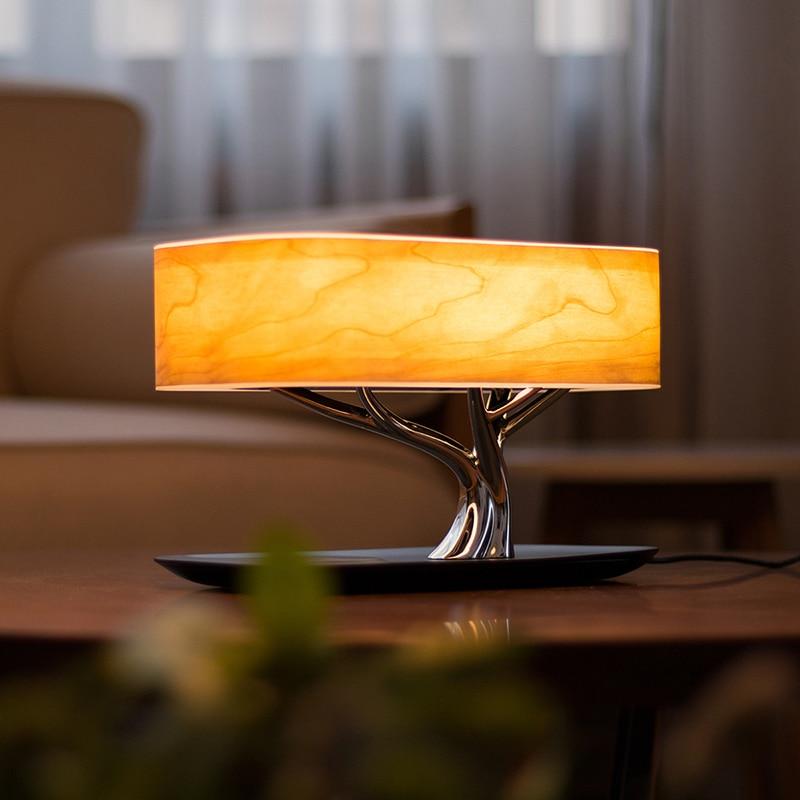 Eworld עץ אור WiFi חכם שולחן עבודה דקו אור מוסיקה אור Bluetooth רמקול מיטת ראש אווירה אור רמקול מוסיקה תיבה