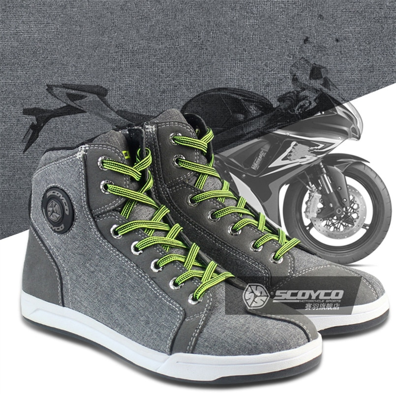 SCOYCO Motorcycle Boots Men Women Grey Casual Fashion Wear Shoes Breathable Anti-skid Protection Gear Botas De Motociclista