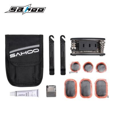 SAHOO, Kit de reparación de ciclismo para bicicleta, neumático de goma, parche, bolso de cartera con herramienta roja