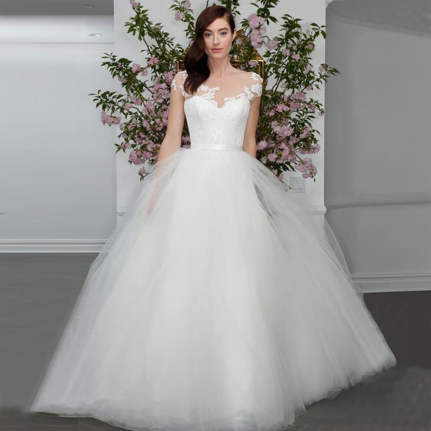 Бальное платье с круглым вырезом, свадебные платья из тюля на заказ, очаровательный дизайн с V-образным вырезом, со шлейфом, 2015, прозрачная ап...