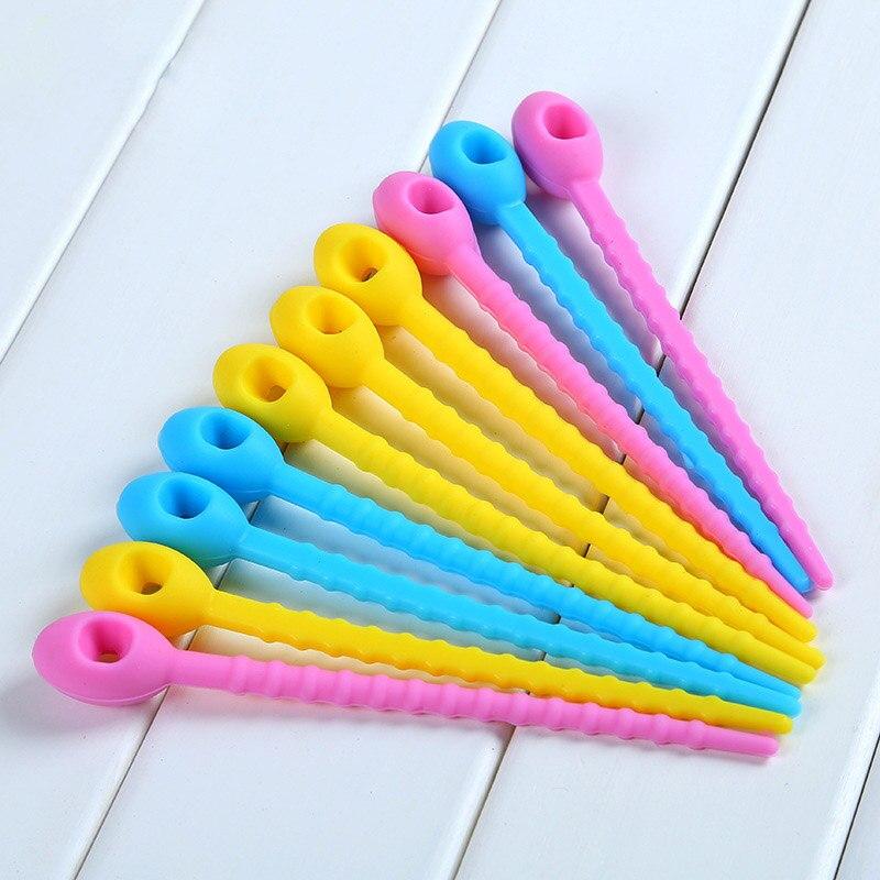 10 Uds de silicona de grado de alimentos lazos de bolsa de Cable de la corbata giro todo propósito Multi-uso Clip corbata de pan comida Saver