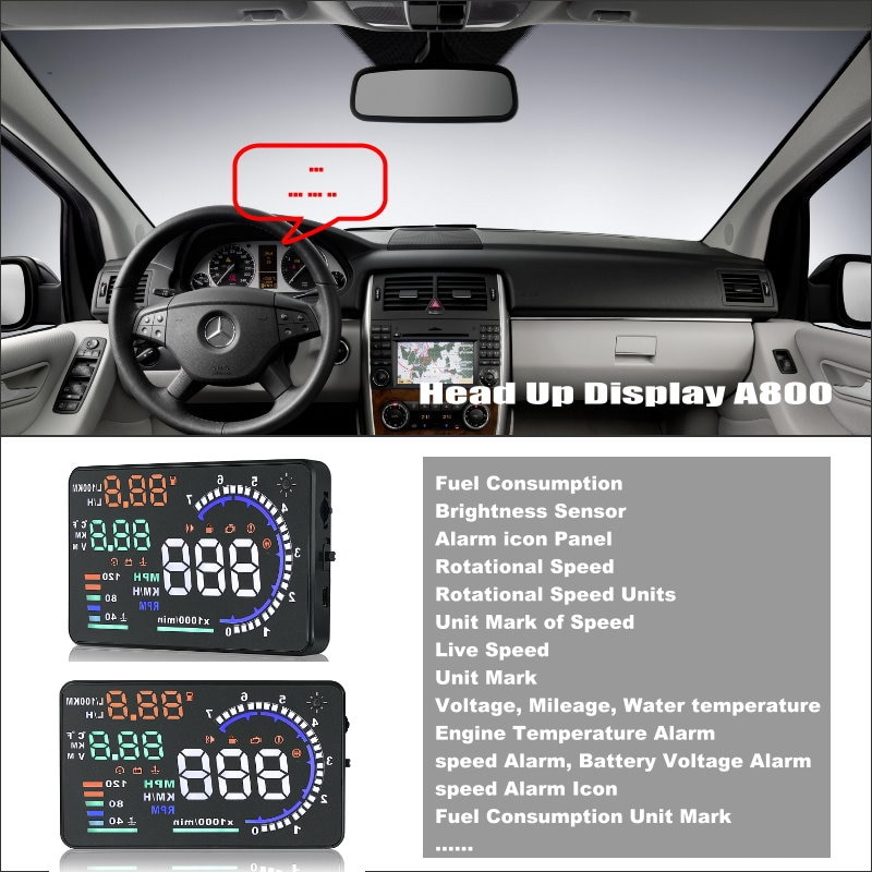 Para Mercedes Benz W245 Classe B-Cabeça Carro HUD Up Display-Refletir Informações de alerta para brisa que oferece uma condução mais segura