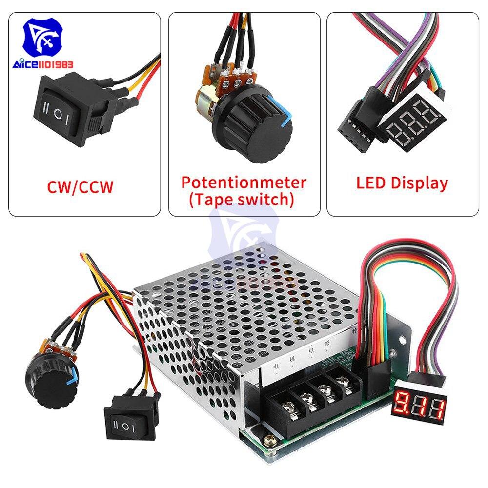Controlador de velocidad del Motor de CC DC 10V-55V 40A PWM cepillado controlador de velocidad del Motor de CC CW CCW Reversible interruptor con pantalla de dígitos LED
