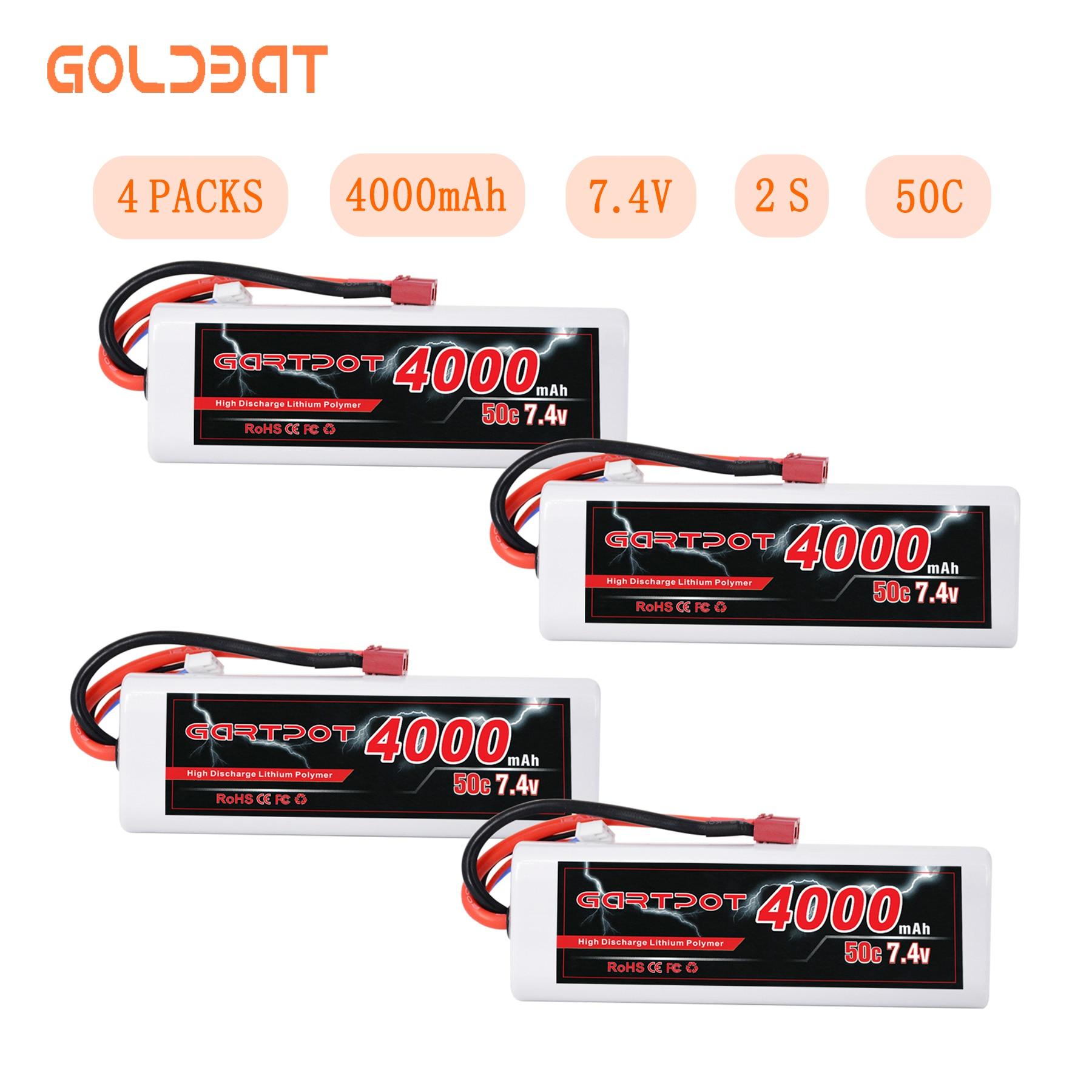 4 unidades GARTPOT Lipo batería 4000mAh 7,4 V RC coche Batería 2S Lipo batería RC 50C Lipo 7,4 V con decanos enchufe para RC camión Traxxas