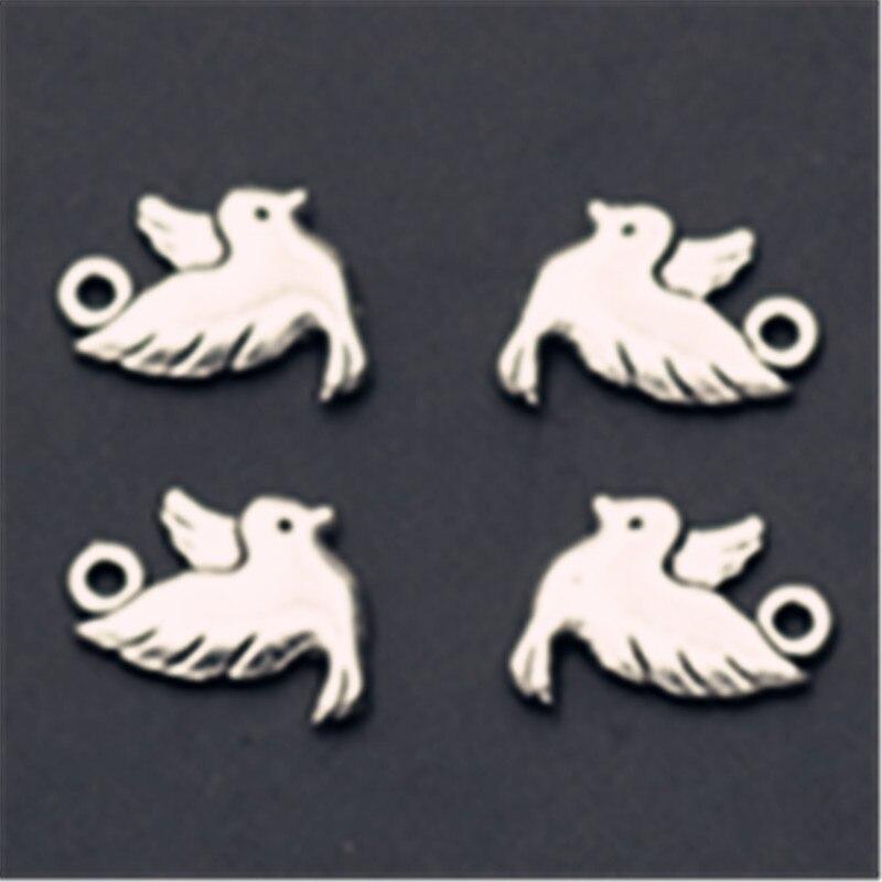 Colgantes de aleación de Paloma de Metal MIni de Color plateado de 15 Uds para pendientes de pulsera DIY joyería de moda amuleto hecho a mano A160