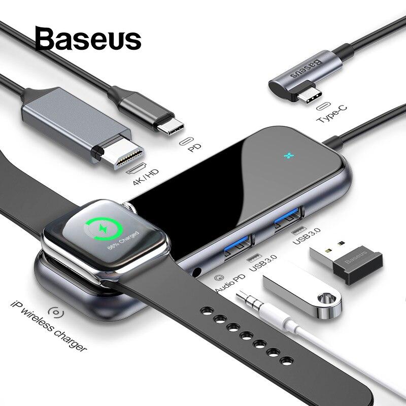 Baseus USB C HUB para HUB USB 3.0 HDMI Adaptador para MacBook Pro Ar RJ45 Multi Tipo C HUB com Wireless HUB de carga para USB-C