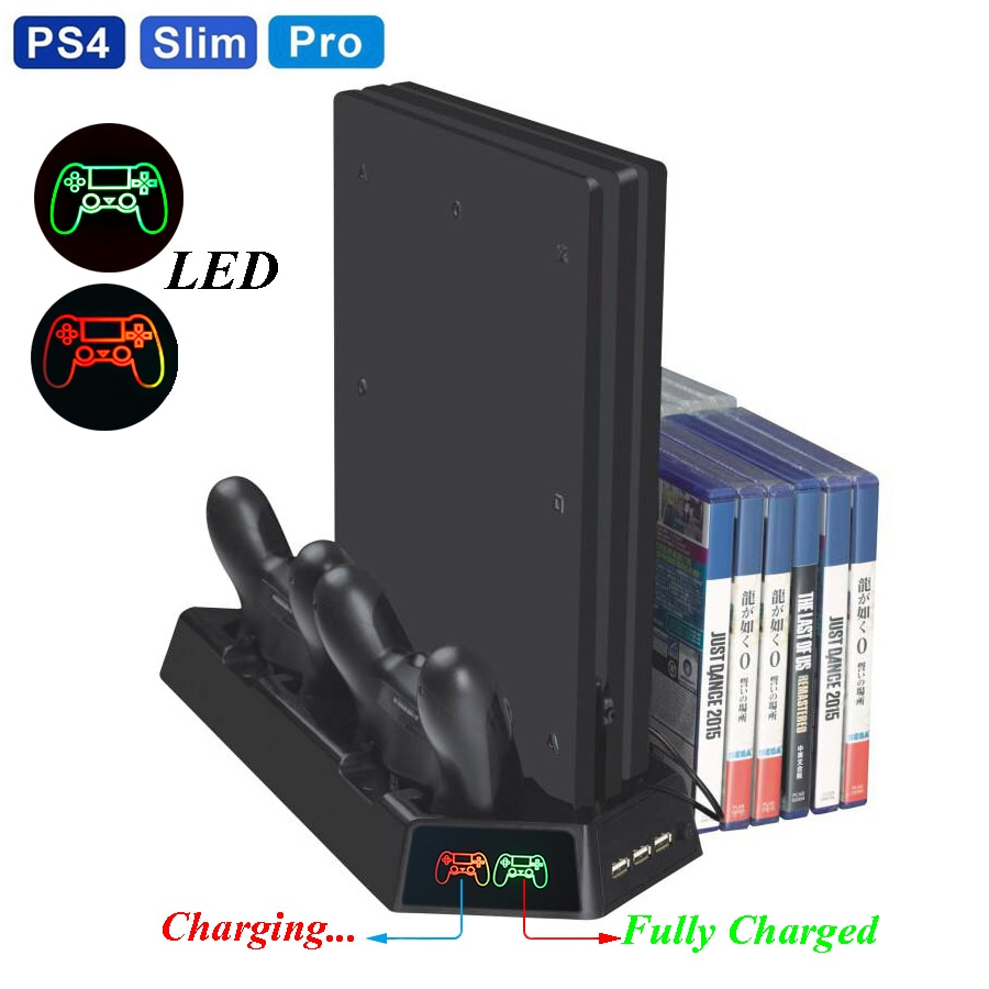 PS4 Slim PRO LED вертикальная подставка с охлаждающим вентилятором кулер двойной контроллер зарядное устройство зарядная станция для SONY Playstation 4