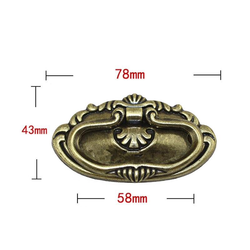 Bulk Vintage Retro Bronze Tone European Handle Tab Drawer Cabinet Jewelry Box Decorative DIY Home Furniture Hardware,78*43mm