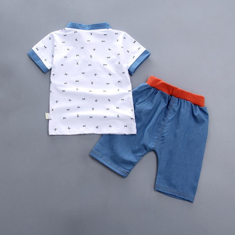 Camiseta de manga corta para niños con pantalones de algodón suave transpirable conjunto de ropa S7JN