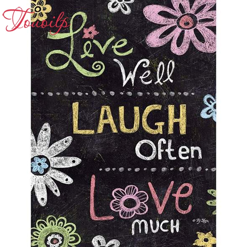 TPOUOILP 5d Diy Live Well Laugh Often Love Much diamond painting square&round diamond cross stitch set diamond embroidery