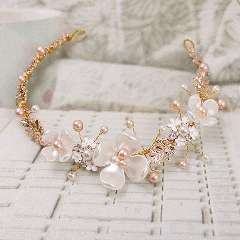 Vintage rhinestone flor de la perla nupcial hecha a mano tiara diadema cristal diadema accesorios para el cabello de boda