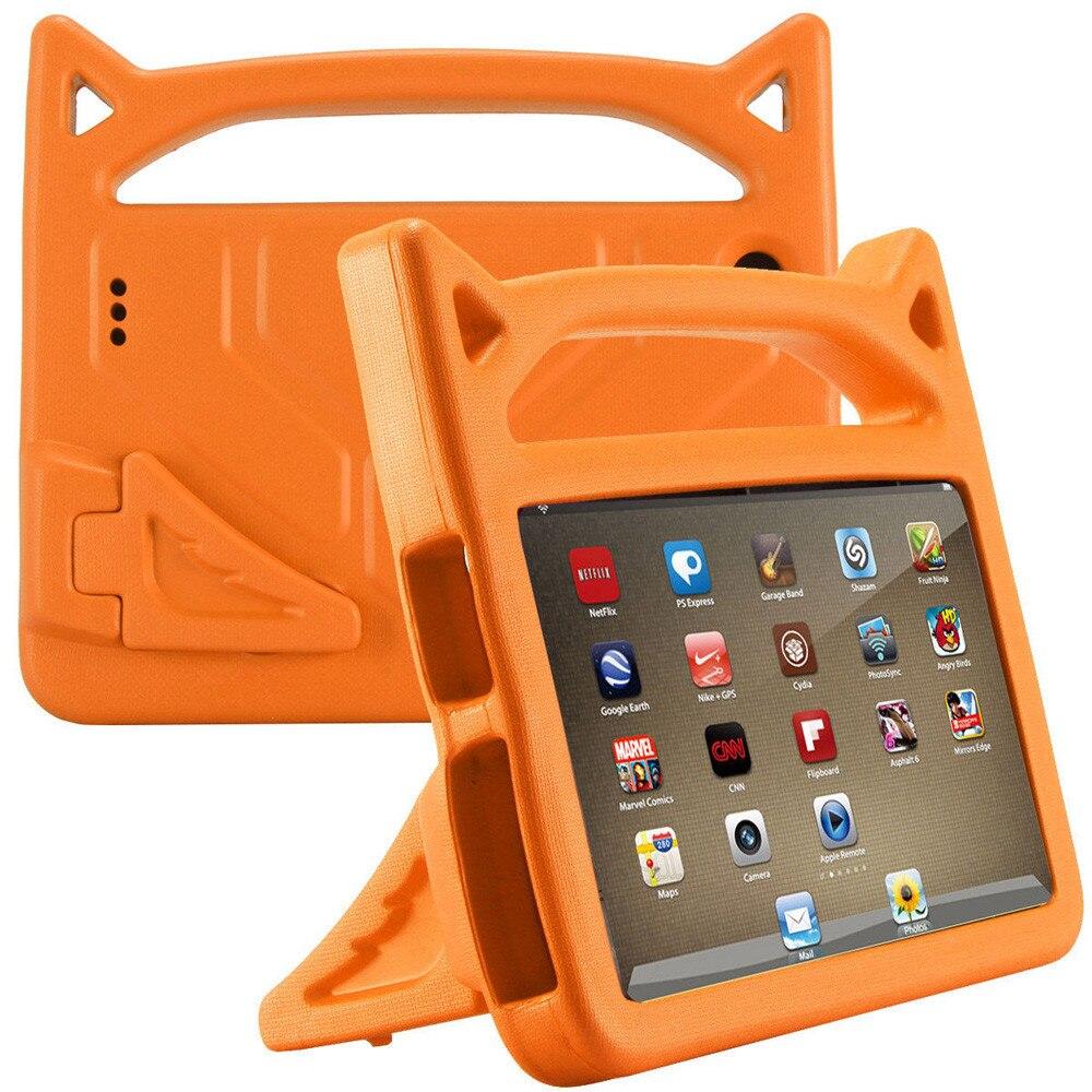 Cases tablet Orange For Amazon Kindle Fire 7 2015/2017 Kids Safe EVA Rubber Handle Stand Case#5$