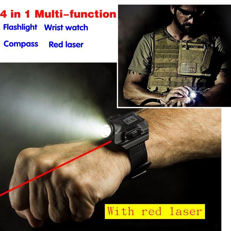 Многофункциональный водонепроницаемый спортивный USB зарядка led наручные смотреть факел с красным лазером аккумуляторная освещение тактич...