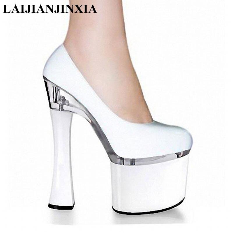 Laijianjinxia novo clássico/preto/branco plataforma feminina bombas 18 cm super grosso salto alto pólo sapatos de dança casamento/festa sapatos