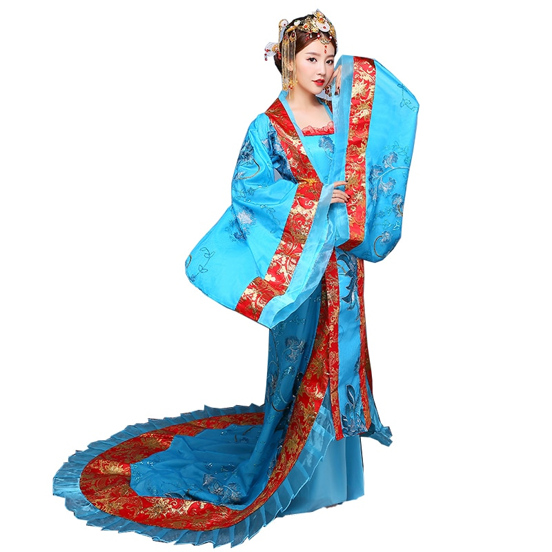 Hanfu Women Traditional Clothes Royal Lady Chinese Stage Dress Blue Hanfu Cosplay Asian national costume Ancient Chinese Costume недорого
